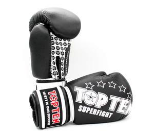 Topten Boxhandske Superfight Stars, Svart 12 och 14 oz