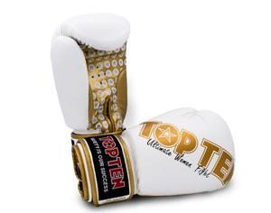 Topten Boxhandske Ultimate Women Fight, Vit/Guld 10 oz