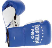 Topten Boxingglove PRO, blue/white with lacing, 8-10 oz