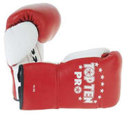 Topten Boxingglove PRO, red/white with lacing, 8-10 oz