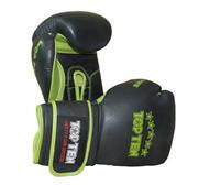 """Topten Sparring gloves  """"Elite Hi-Grade"""", Black/Green 16-oz"""