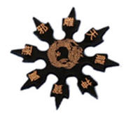 Shuriken rubber, black and gold
