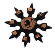 Shuriken i gummi, svart med guldtecken