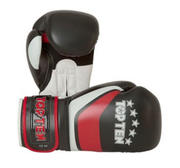 Topten Boxningshandske Stripe, Svart/Röd/Vit 10-12 oz