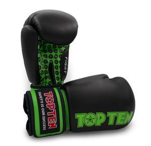 Topten Boxningshandske Fight, Svart/Grön 10 oz