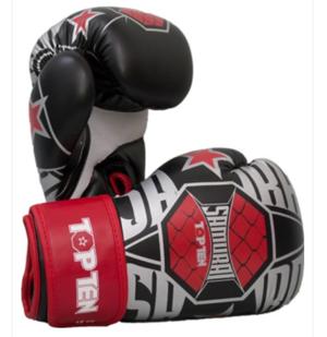 "Topten Boxningshandske ""Samurai"" Vit/Röd 10-12 oz"