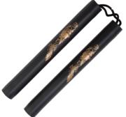 Foam Cord Nunchaku, 30 cm, Svart med gulddrake