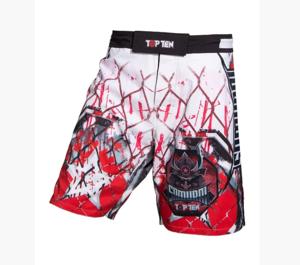 """Topten MMA Board Shorts """"Samurai"""" Vit/Röd/Svart"""