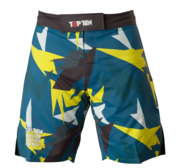 "Topten MMA Board Shorts ""Jungle"" Svart/Blå/Gul"