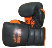 Topten Boxingglove Lace Up Pro, Black/Orange with lacing,18 oz