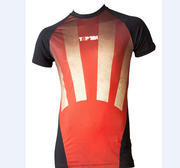 "Topten Rashguard Shortsleeved ""Sunrise"",  Black/Red"